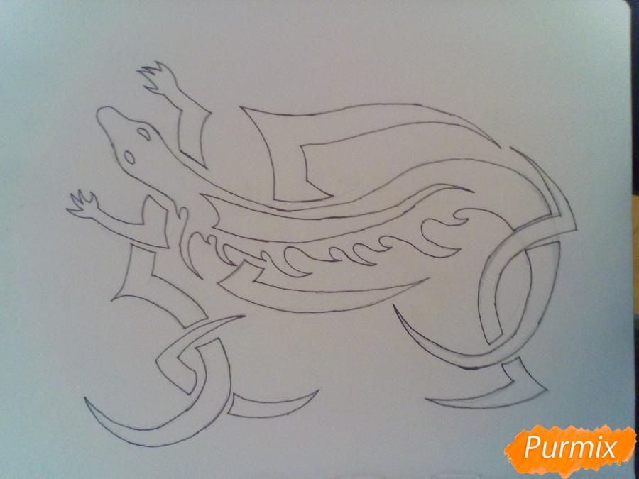 Рисуем тату ящерицу - фото 5