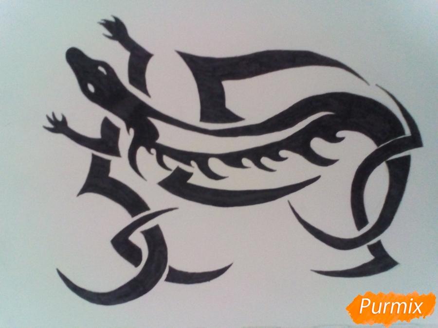 Рисуем тату ящерицу - фото 6