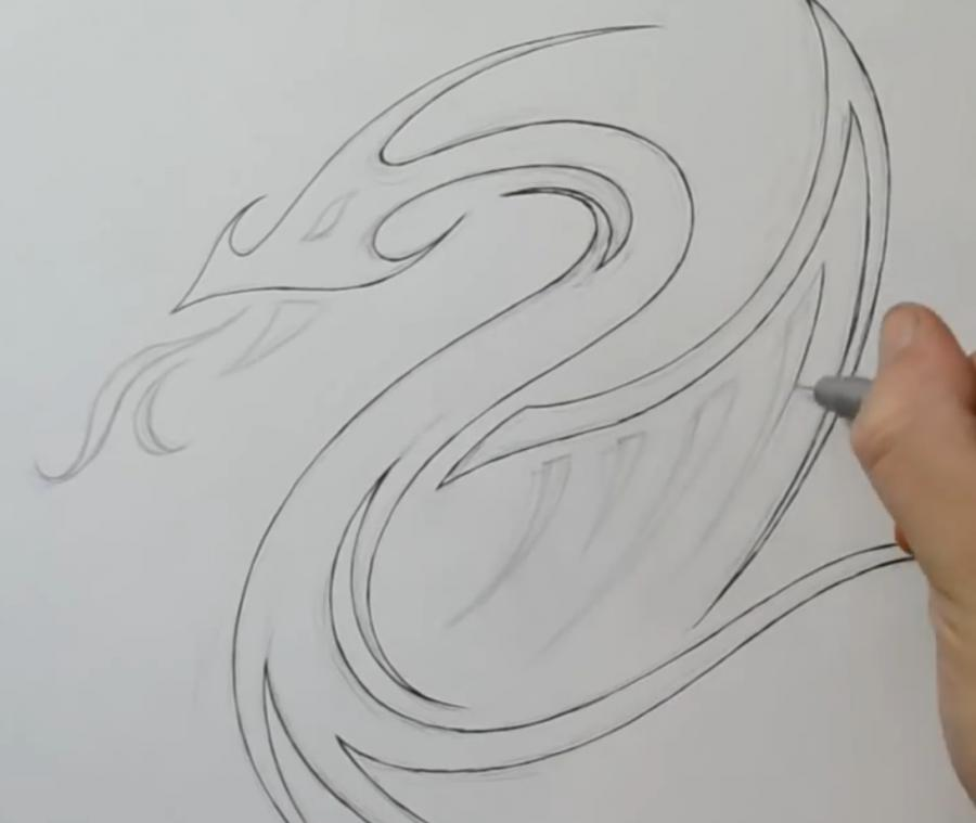 Как легко нарисовать тату дракона на бумаге - шаг 3