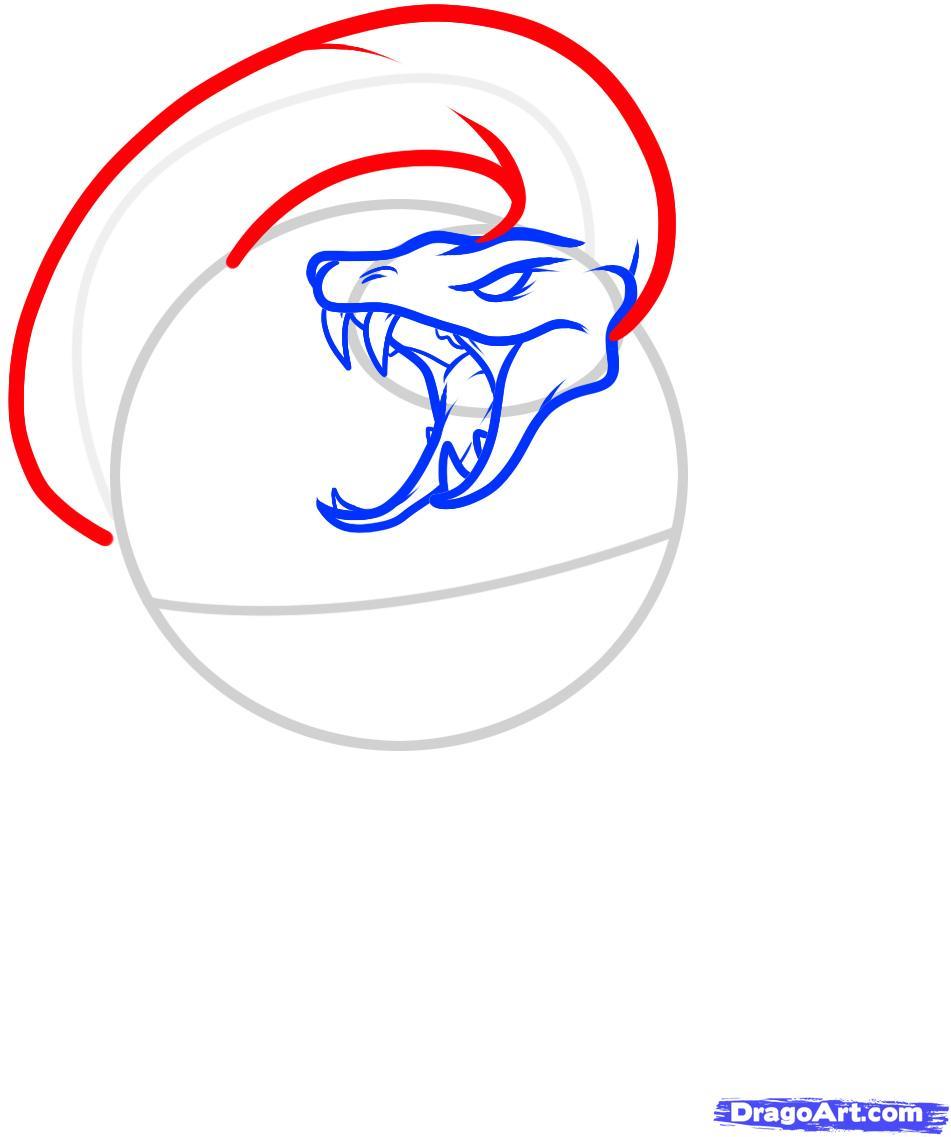Рисуем череп пробитый кинжалом со змеей - шаг 4