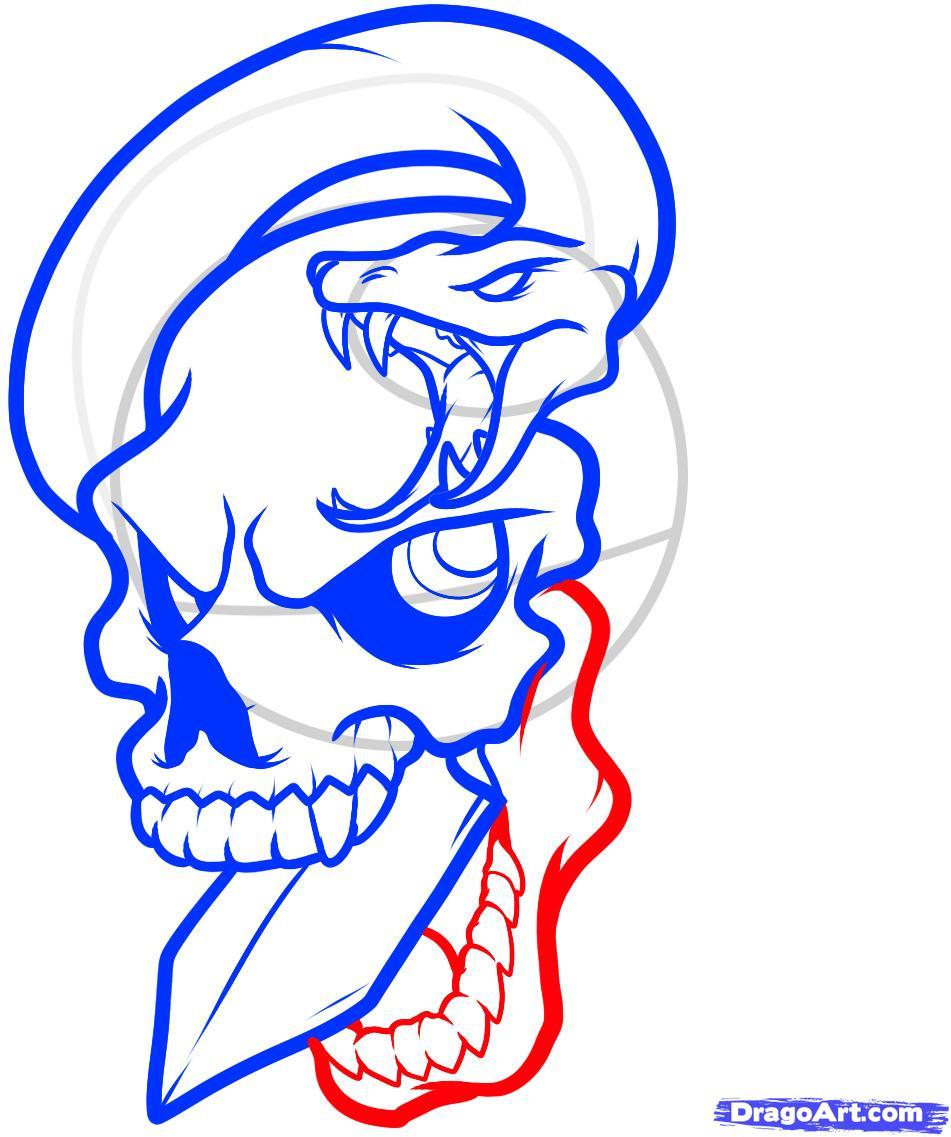 Рисуем череп пробитый кинжалом со змеей - шаг 8
