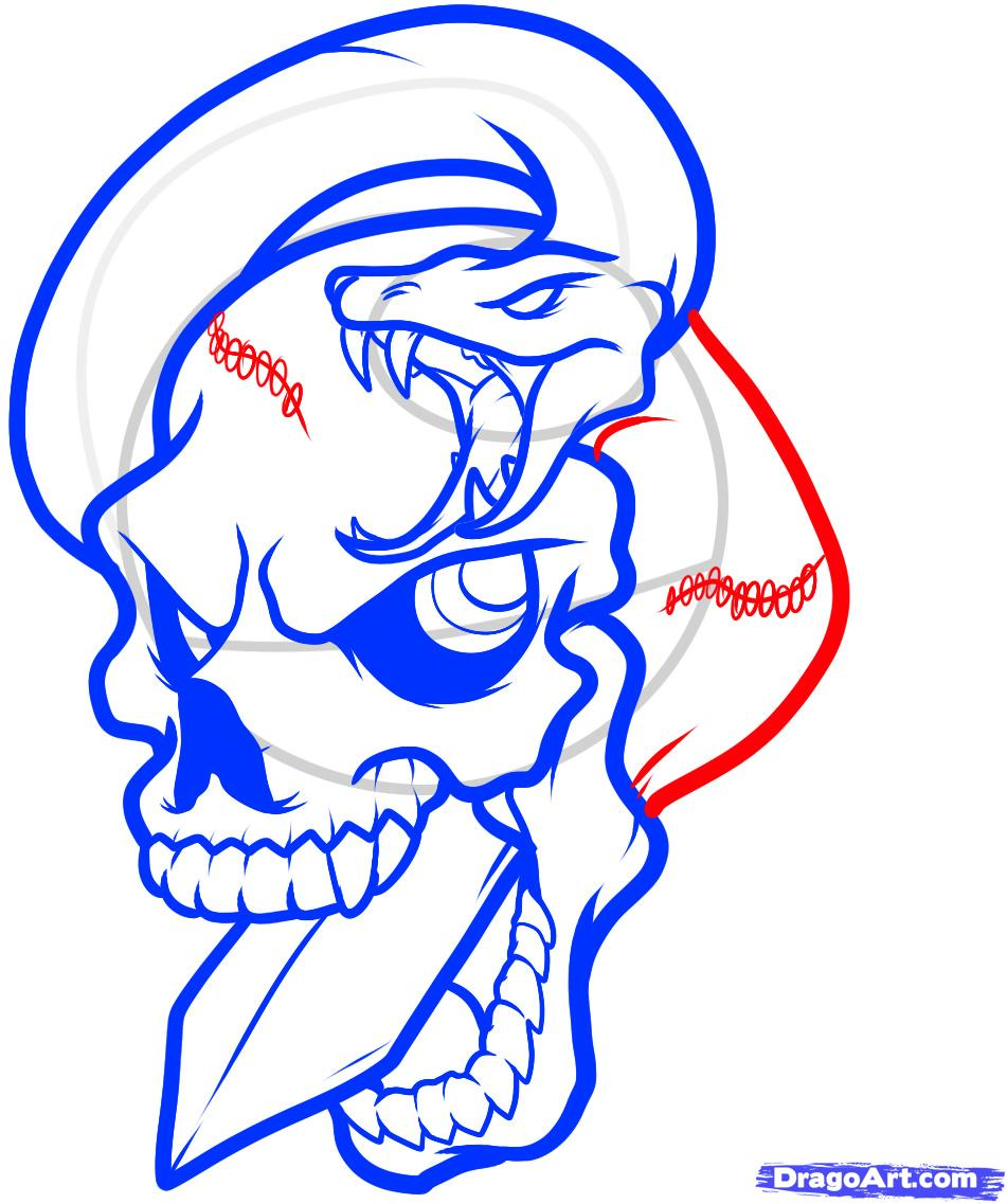 Рисуем череп пробитый кинжалом со змеей - шаг 9