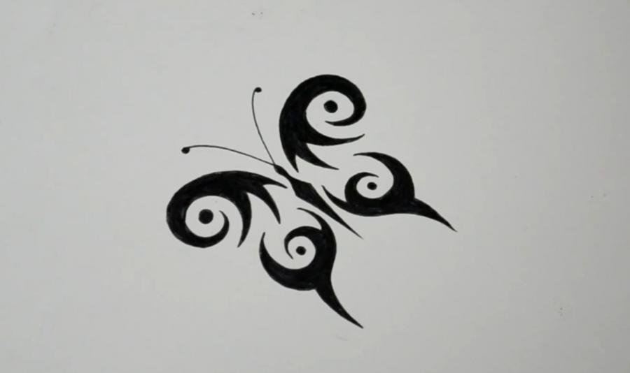 Рисуем бабочку в стиле тату - фото 7