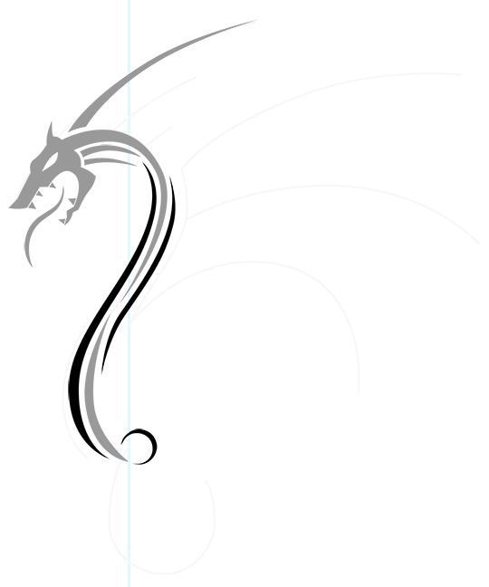 Рисуем дракона в стиле тату - шаг 6