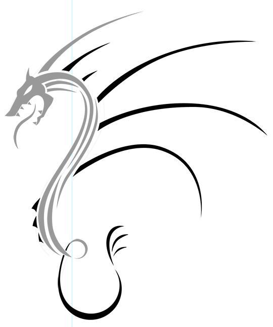 Как нарисовать дракона в стиле тату карандашом поэтапно