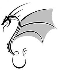 Фото дракона в стиле тату карандашом