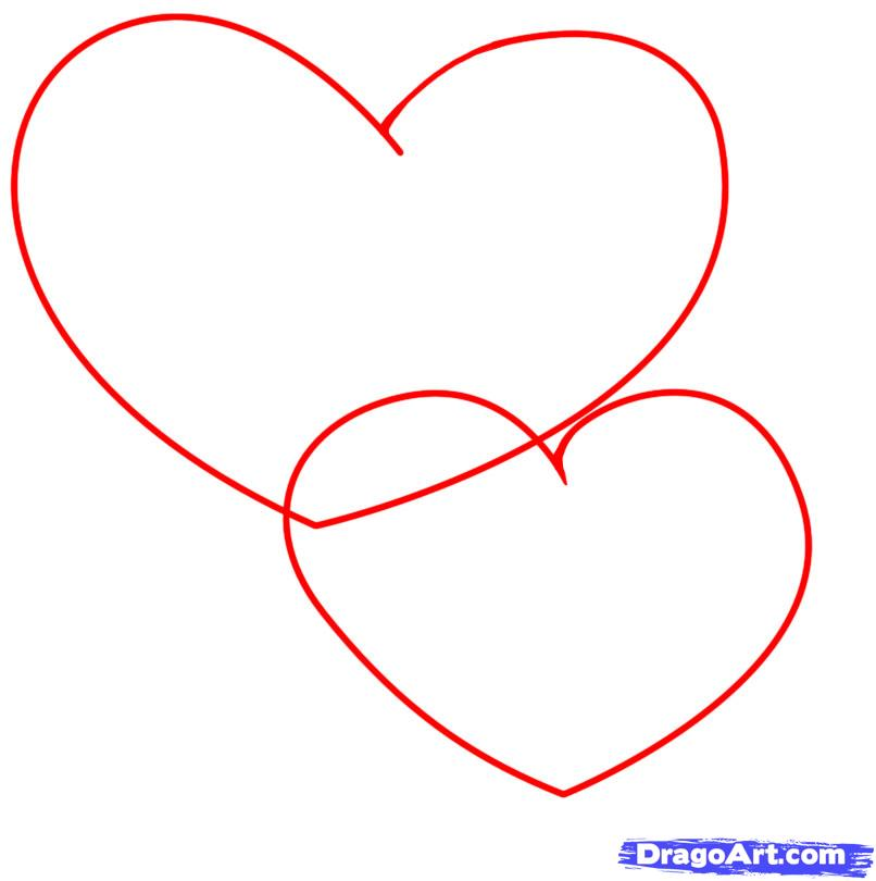 Рисуем два сердца с розами - шаг 1