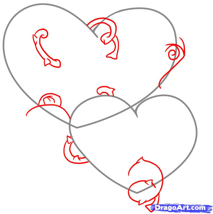 Рисуем два сердца с розами - шаг 2
