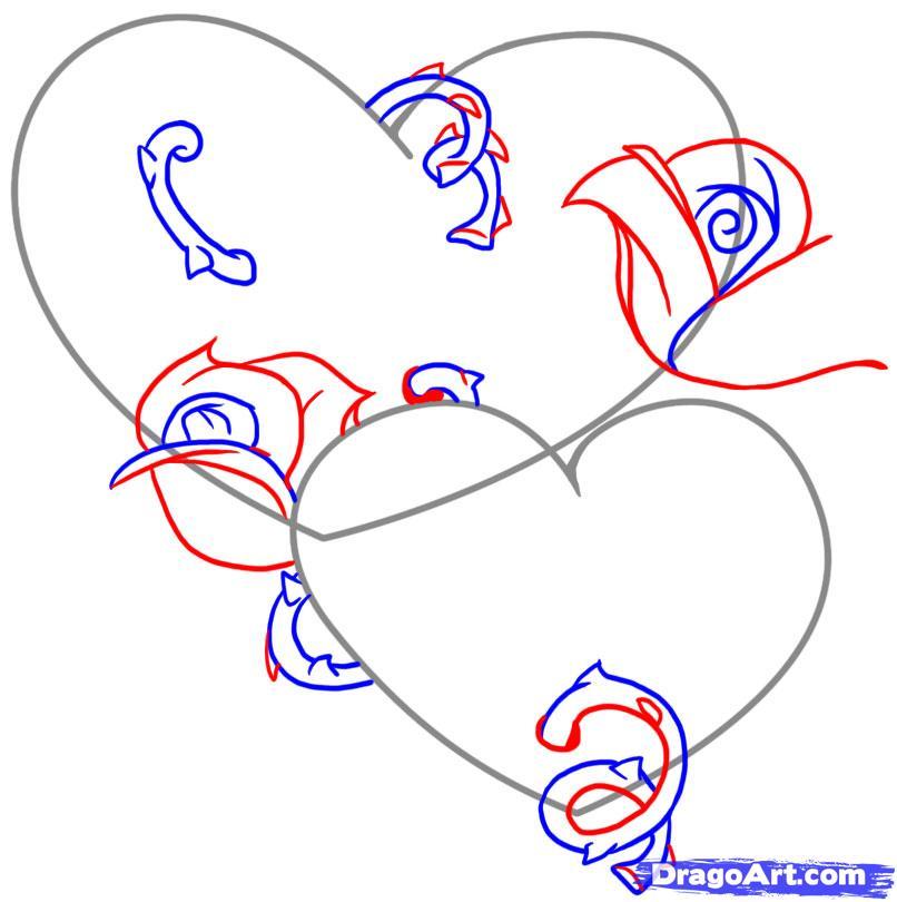 Рисуем два сердца с розами - шаг 3