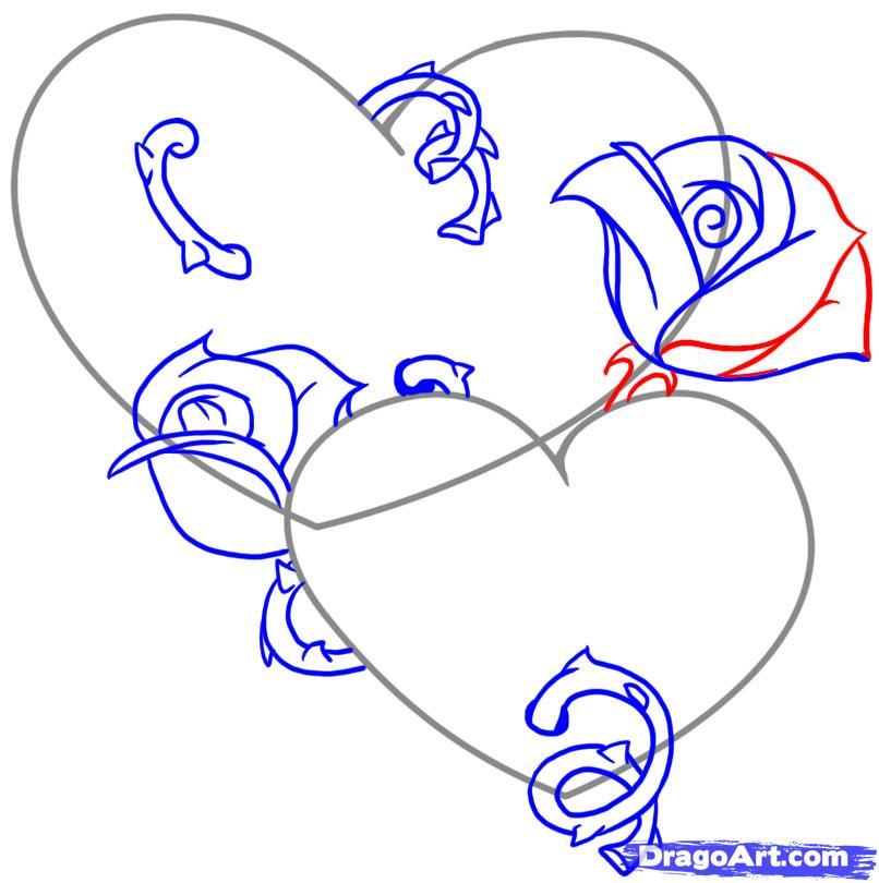 Рисуем два сердца с розами - шаг 4