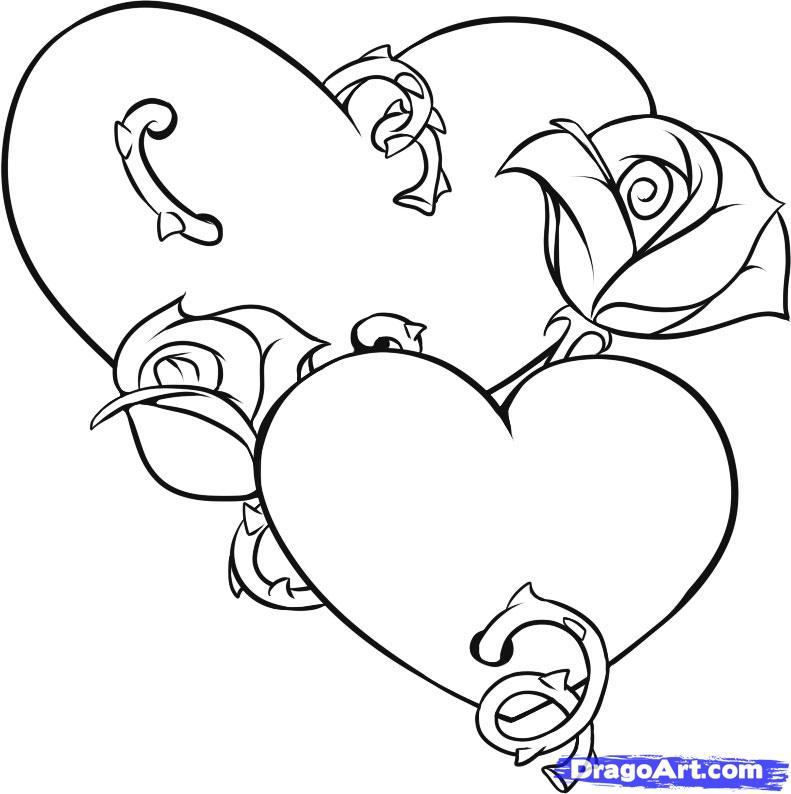 Рисуем два сердца с розами - шаг 5