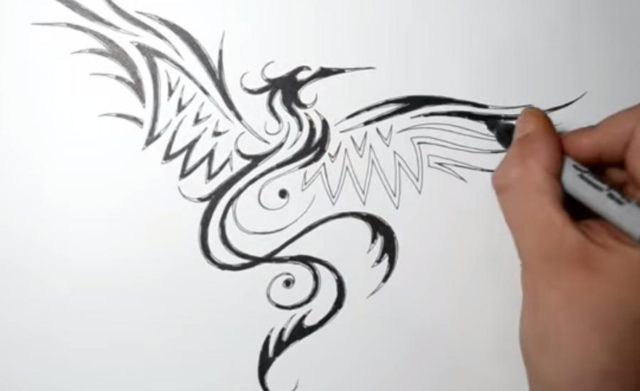 Рисуем татуировку Феникса - фото 4
