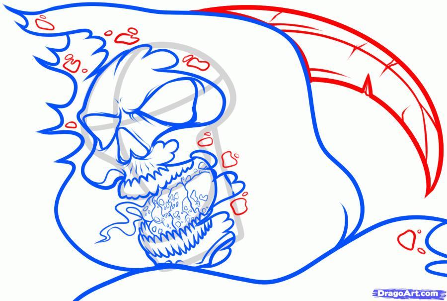 Рисуем голову смерти с косой
