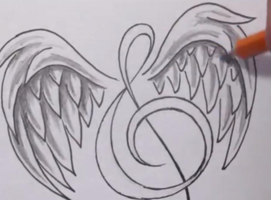 Рисуем  татуировку: ноту с крыльями шаг за шагом