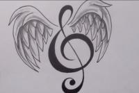 карандашом татуировку: ноту с крыльями шаг за шагом