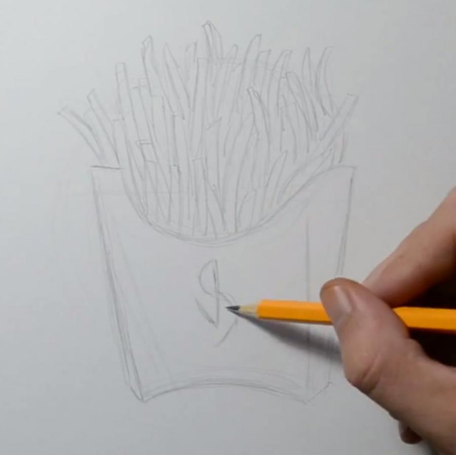 Рисуем картошку фри в стиле тату