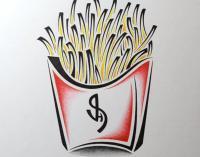 Фото картошку фри в стиле тату карандашом
