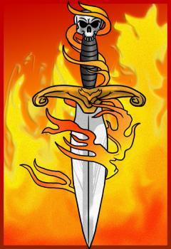 Как нарисовать Кинжал в огне карандашом поэтапно