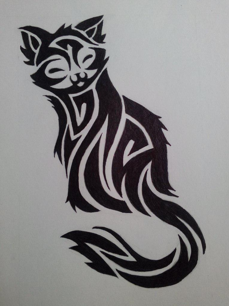Рисуем кошечку в стиле тату простым