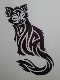 Фото кошечку в стиле тату простым карандашом