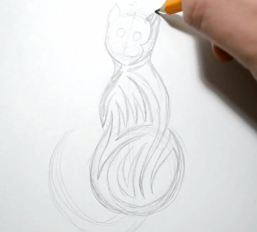 Рисуем кошку в стиле тату - фото 2