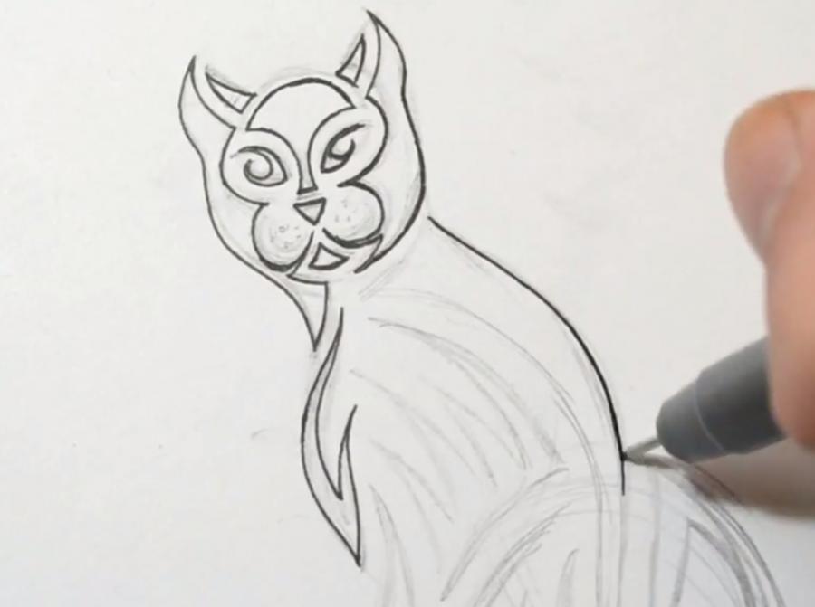Рисуем кошку в стиле тату - фото 4