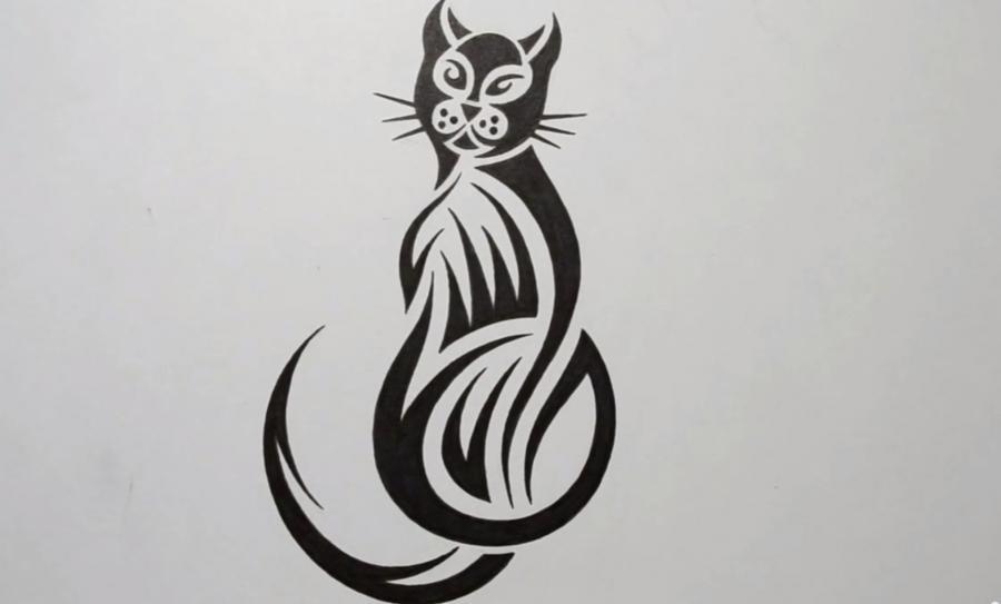 Рисуем кошку в стиле тату - фото 6