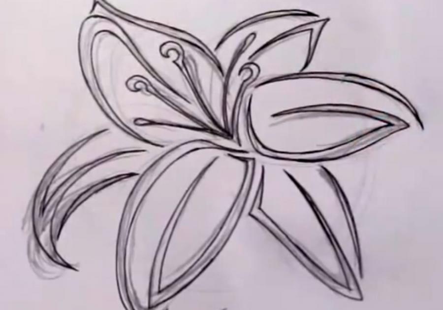Рисуем лилию в стиле тату на бумаге