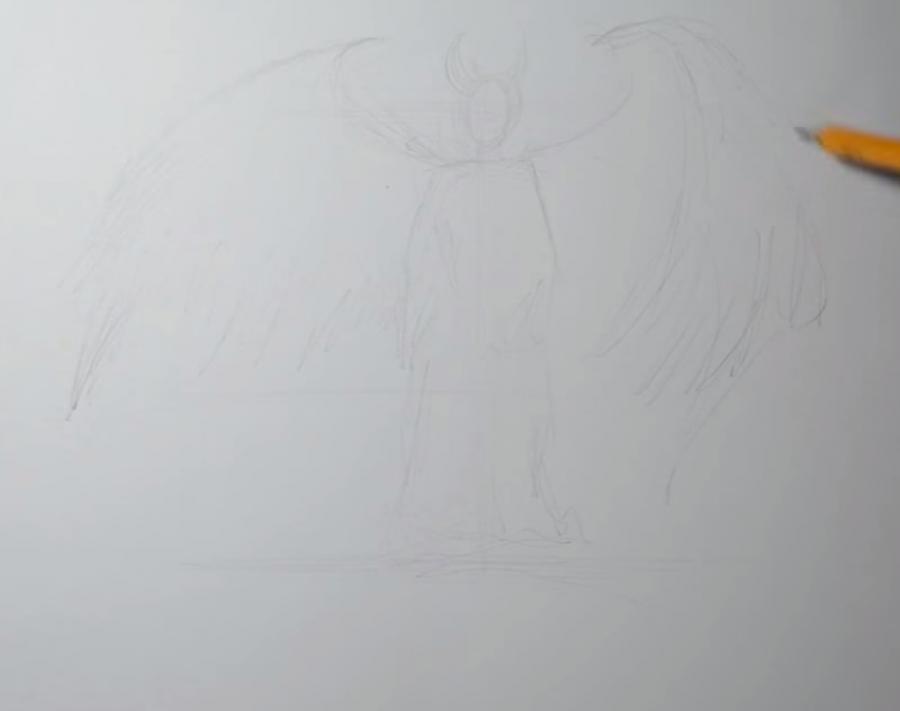 Рисуем Малефисенту в стиле тату на бумаге - шаг 1