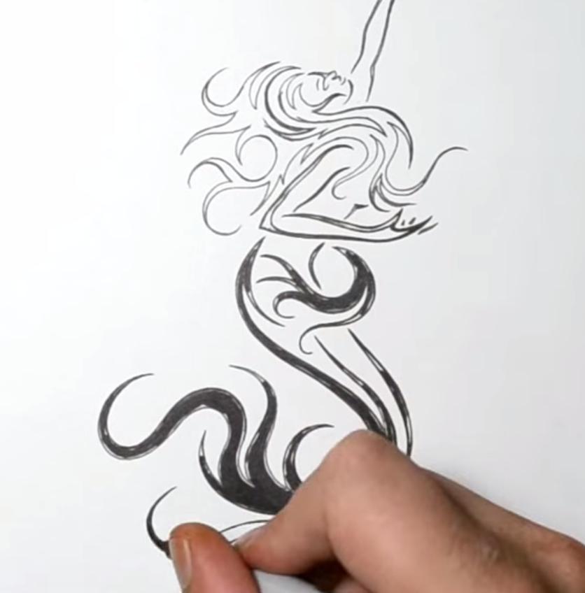 Рисуем русалку в стиле тату на бумаге