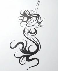 русалку в стиле тату на бумаге