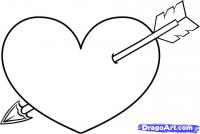 Сердце пробитое стрелой карандашом
