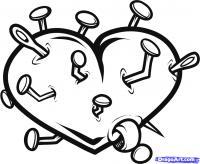 Фото сердце пронзенное гвоздями карандашом