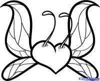 сердце с крыльями карандашами