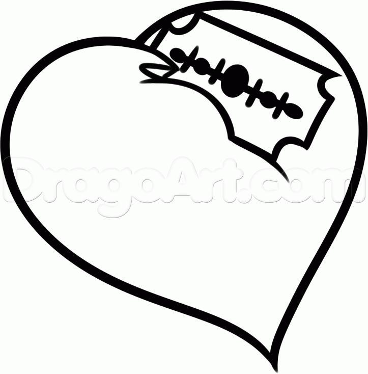 карандашом сердце рисунок нож в