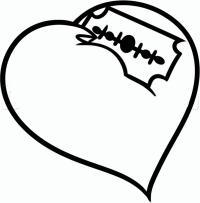 сердце с лезвием карандашом