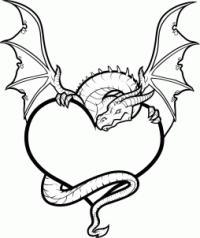 сердце в лапах  дракона карандашом