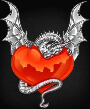 Рисуем сердце в лапах  дракона