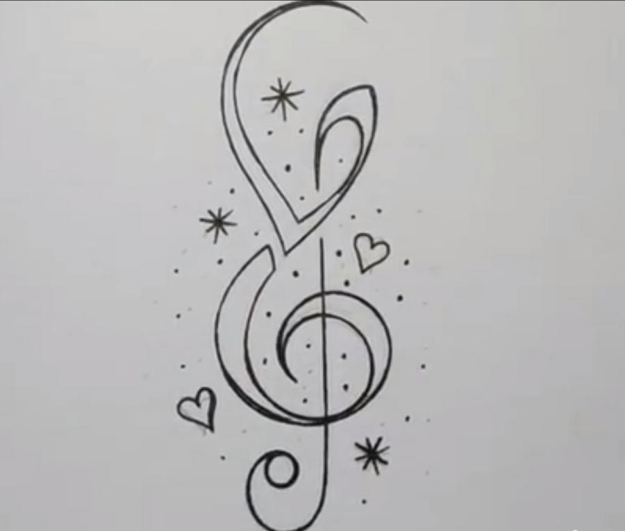 Рисуем скрипичный ключ в стиле тату на бумаге