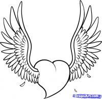 тату в виде сердечка с крыльями