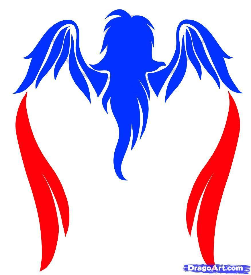 Рисуем татуировку ангела - шаг 4
