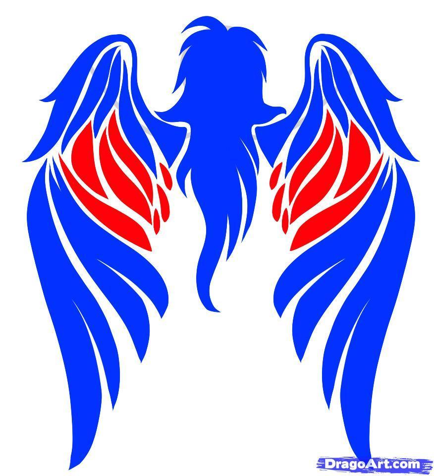 Рисуем татуировку ангела - шаг 6