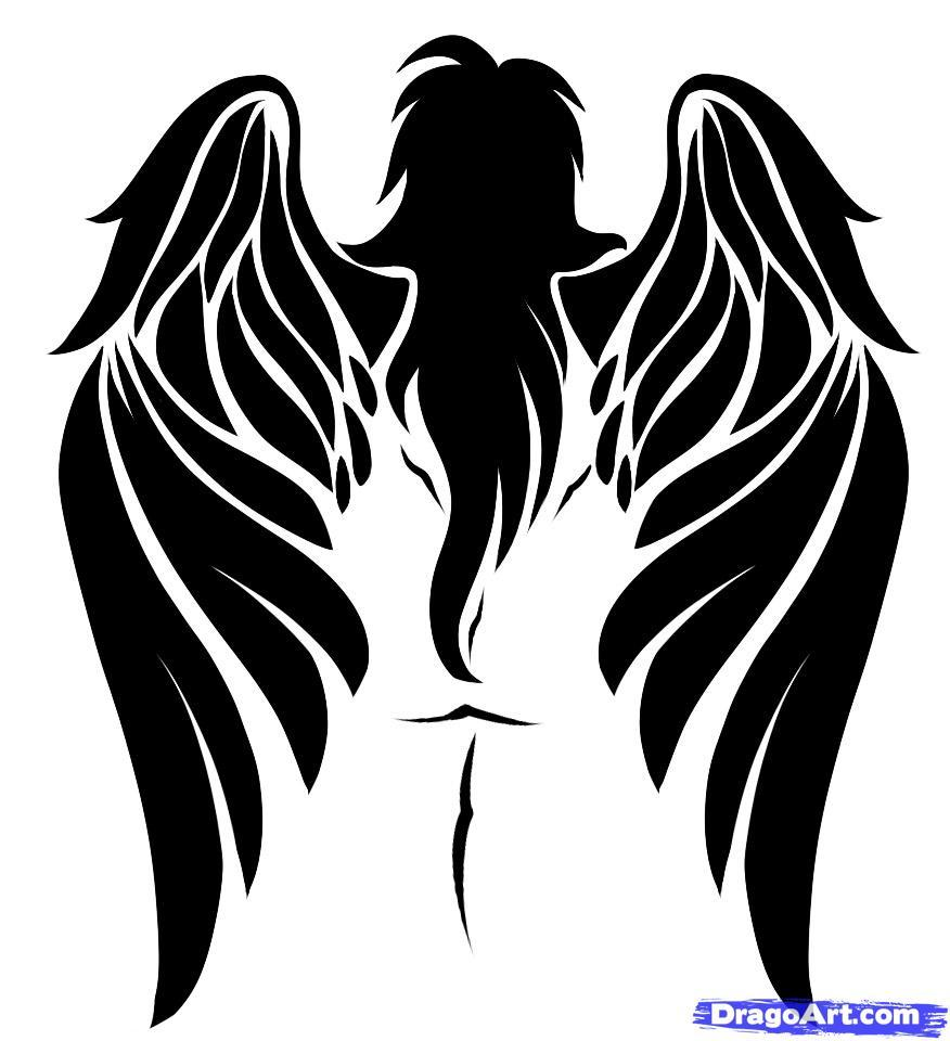 Рисуем татуировку ангела - шаг 8
