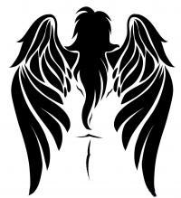 татуировку ангела карандашом