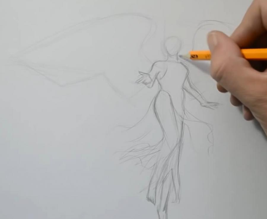 Рисуем татуировку ангела на бумаге