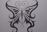 татуировку бабочка карандашом