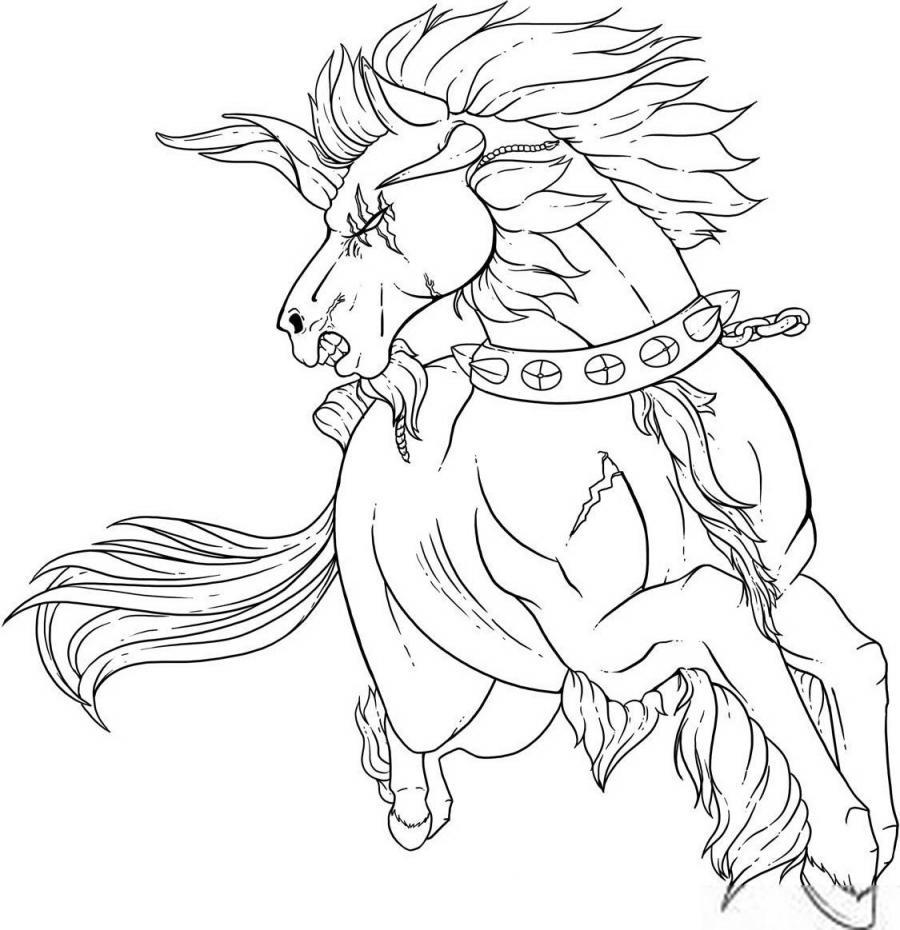 Рисуем татуировку боевого коня - шаг 6