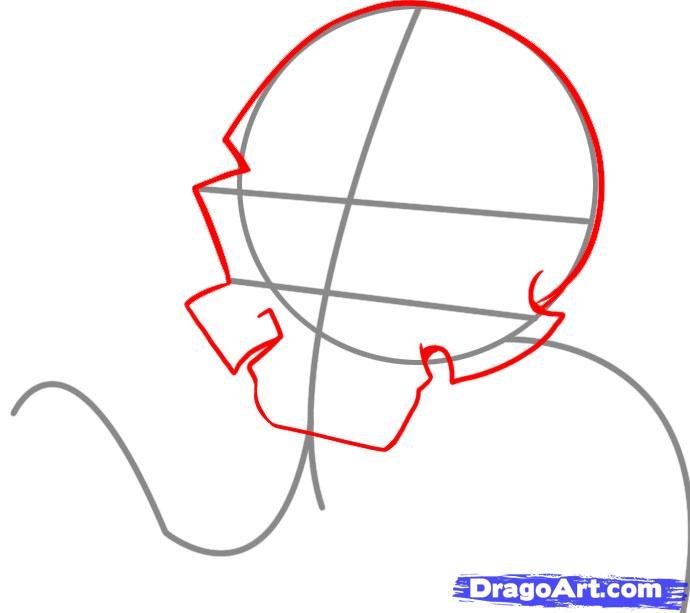 Рисуем череп с языком - шаг 2