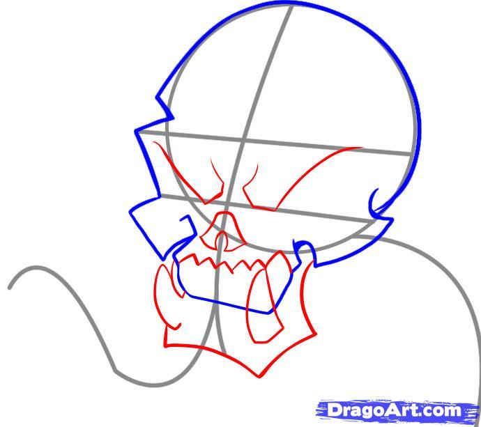 Рисуем череп с языком - шаг 3