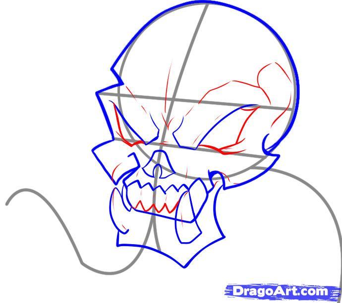 Рисуем череп с языком - шаг 4